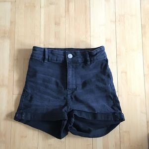 H&M black high waisted jean shorts